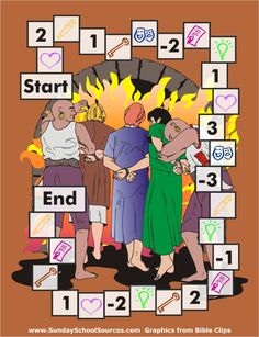 Shadrach, Meshach, & Abednego game board and trading  card printables