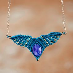 New to MacrameLoveJewelry on Etsy: 30% Off - Angel wings necklace amethyst necklace  tribal necklace macrame necklace collier en macramé gypsy necklace amethyst charm (58.00 USD)