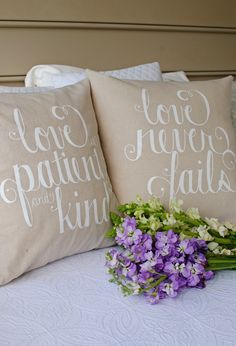 Image of Love Is 18x18 Pillow Cover Set in White