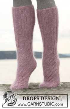 "DROPS Tube socks in rib and textured pattern in 3 threads ""Kid Silk"". ~ DROPS Design"