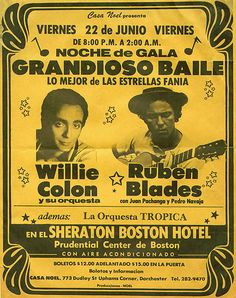 """Vintage Poster"""" Willie Colon and Ruben Blades. World Music, Music Is Life, 70s Singers, Musica Salsa, Concert Posters, Music Posters, Latino Art, Salsa Music, Puerto Rico History"""