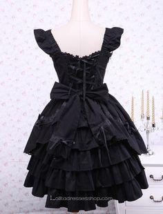 Ruffles Black Cotton Square Neck Gothic Lolita Dress