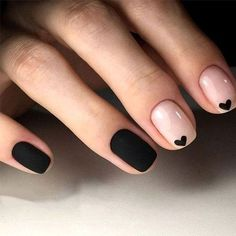 Cool Black Nail Designs to Try Now Cool Black Nail Designs to Try Now Beautiful way to create the perfect french manicure! By: Hannah Rox It LOOK OF YOUNG . 35 Fabulous Black Nail Designs For Ladies Heart Nail Designs, Black Nail Designs, Fall Nail Designs, Cute Nail Art Designs, Short Gel Nails, Short Nails Art, Black Nails Short, Cute Short Nails, Cute Black Nails