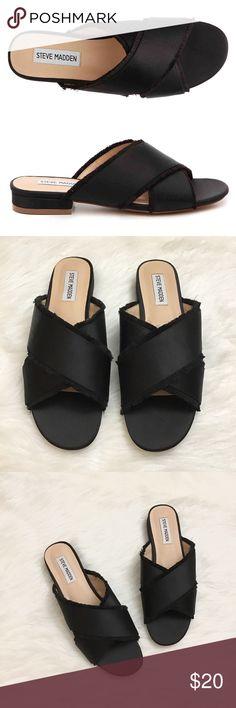 Steve Madden Syruss Satin Black Sandals