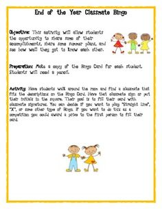 This activity will allow students the opportunity to share some of their accomplishments, share some summer plans, and see how well they got to kno...