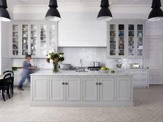 greige painted kitchen, black lights, white handmade tiles