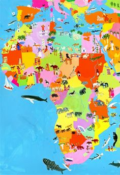 Africa ©: Map of Africa (Christopher Corr is a travel illustrator, specialized in gouache paints). African Theme, African Safari, Africa Map, Africa Travel, Travel Maps, Travel Posters, Art Posters, Gouache Illustrations, Afrique Art