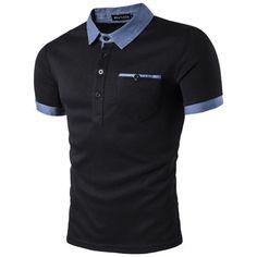 New Design Men's Short Sleeve Shirts Male Casual T-shirt Sport Tops Lapel Collar