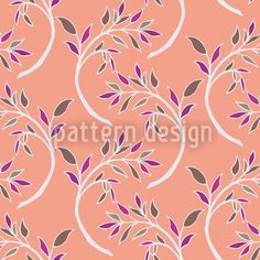 Branch Asia by Martina Stadler available for download as a vector file on patterndesigns.com Vector Pattern, Pattern Design, Vektor Muster, Floral Artwork, Blooming Plants, Repeating Patterns, Vector File, Surface Design, Flower Patterns