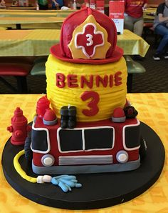 Fireman themed kids birthday cake, so adorable!! Debs