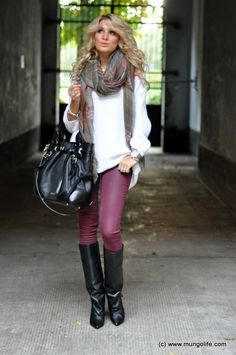 Fall/Winter Outfit: Oversized/Long/Large Scarf + Oversized/Slouchy White Sweater + Purple Skinnies + Knee High Black Boots + Black Bag