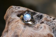"""Sterling Silver Rainbow Moonstone Ring """"Cleo"""" READY TO SHIP, moonstone engagement ring,delicate ring,flower ring, rose ring"""