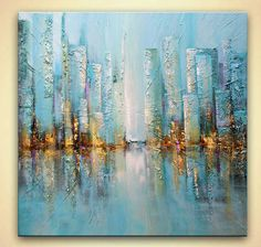 modern blue city painting palette knife painting
