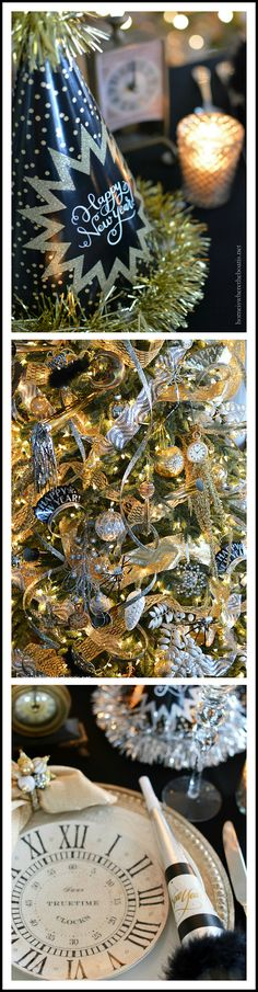 Ring in the New Year with a table by the tree decorated with a hat tree topper, party horns, clocks, tiaras and confetti streaming ribbon | homeiswheretheboatis.net #party