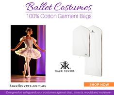 Arrive at your destination confident that your costumes and accessories are protected and ready for your performance.  Kazzi Kovers 100% cotton garment bags are a must-have for dancers and performers. Each bag accommodates up to 3 costumes (depending on the costume material) and includes a bottom hook for travel purposes. There is also enough room at the bottom of the bag to store your shoes and accessories.  For home, storage and travel purposes. Available individually or in combo packs.