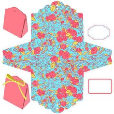 Illustration of Box template. Diy Gift Box, Diy Gifts, 3d Paper Crafts, Diy And Crafts, Paper Box Template, Paper Mache Letters, Printable Box, Printables, Birthday Box
