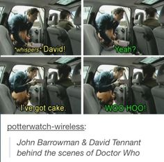 Doctor, Memes, and Yeah: whispers David! I've got cake WOO HOO! potterwatch-wireless: John Barrowman & David Tennant behind the scenes of Doctor Who David Tennant, John Barrowman, The Maxx, 10th Doctor, Twelfth Doctor, Out Of Touch, Fandoms, Dc Movies, Films
