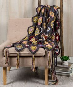 Tranquil Retro Throw Free Crochet Pattern in Red Heart Yarns -- We've…