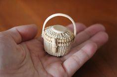 miniature round basket made of cypress