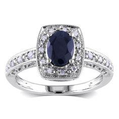 <li>Sapphire and diamond ring</li><li>Sterling silver ring</li><li><a href='http://www.overstock.com/downloads/pdf/2010_RingSizing.pdf'><span class='links'>Click here for ring sizing guide</span></a></li>