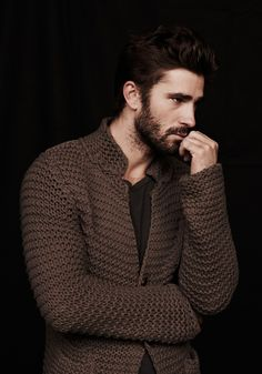 Cyril Giustiniani - love this brown knit cardigan