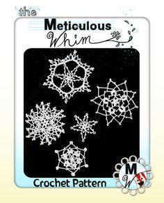 Crochet Snowflakes Ornament Pattern - Snowflake Christmas Ornament Crochet PDF - Snowflakes Garland Crochet Pattern Snowflake Applique Set 1