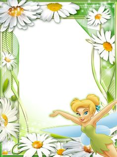 Tinkerbell among the daisies Peter Pan And Tinkerbell, Tinkerbell Fairies, Tinkerbell Party, Holiday Wallpaper, Disney Wallpaper, Tinker Bell, Boarder Designs, Boarders And Frames, Birthday Frames