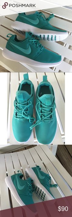 Nike Washed Teal Roshe Two -Low top women's sneaker  -Lace closure  -Slip-on construction  -Natural motion outsole for extra comfort  -NIKE swoosh logo  -Heel tab for easy on/off -FIT: True to size; Women's sizes  ❌NO TRADES❌ Nike Shoes Sneakers