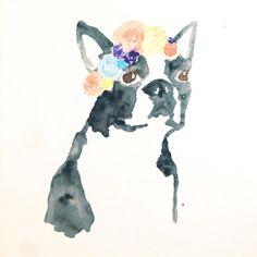 Custom watercolor pet bohemian painting