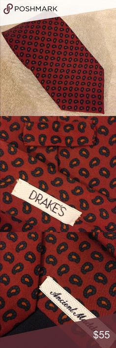 Drakes Mauve w/ Navy Paisley Check Tie Drakes Ancient Madder Mauve with Navy and Gold Paisley Check Silk Necktie! Like new! Please make reasonable offers and bundle! Ask questions :) Drakes Accessories Ties