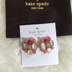 """Kate Spade Statement Earrings Kate Spade bashful blossom statement earrings. 12 karat gold plated metal. Epoxy, resin and glass stones. 14 karat gold filled posts. Drop length approx. 0.8"""". Multi colored. Price firm. kate spade Jewelry Earrings"""
