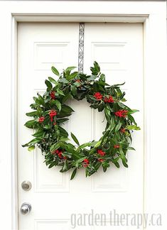 Make a beautiful Christmas holly wreath from stiff wire and natural materials, or oasis ring, so. Christmas Garden, Christmas Door Wreaths, Holiday Wreaths, Christmas Crafts, Christmas Decorations, Holiday Decor, Holly Christmas, Homemade Christmas Wreaths, Green Christmas