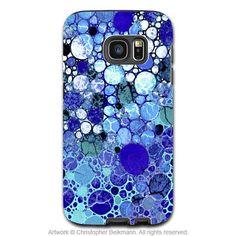 Blue Abstract Galaxy S7 Edge Tough Case - Blue Bubbles - Artistic Samsung Galaxy S 7 Tough Case