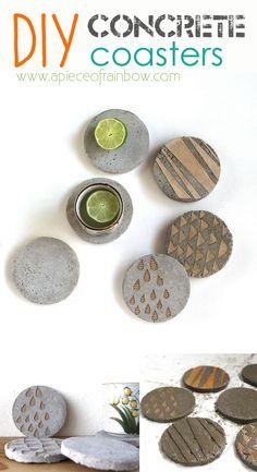 Make Unique Industrial style Concrete Coasters!  Easy and fun DIY - via A Piece Of Rainbow