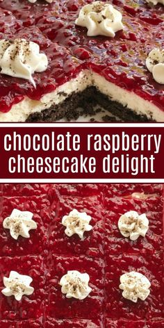CHOCOLATE RASPBERRY CHEESECAKE DELIGHT is an almost no-bake dessert with three delicious layers! A chocolate graham cracker crust, sweet cheesecake middle, and topped with raspberry pie filling. Best Dessert Recipes, Sweets Recipes, Easy Desserts, Baking Recipes, Chocolate Raspberry Cheesecake, Cheesecake Desserts, Strawberry Cream Pies, Homemade Chocolate, Chocolate Recipes