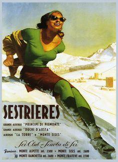 Lady Girl in Green Italian Italy Sestrieres Ski Aosta Travel Poster Repo Free SH | eBay