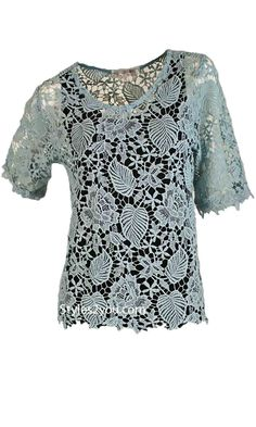 Ada Vintage Lace Over Blouse In Aqua