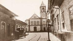 1862 - Largo do Rosário (atual praça Antonio Prado, início da avenida São João, ao fundo) e Rua da Imperatriz (atual rua 15 de Novembro). Foto de Militão Augusto de Azevedo.