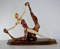 Italian Statue Amiloare Santini Art Deco Lady Made by oldandnew8