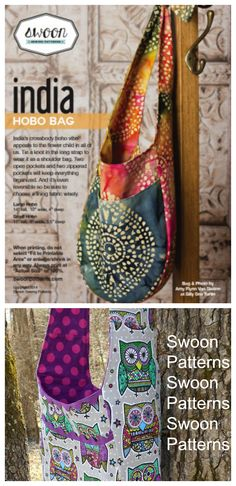 India Hobo bag sewing pattern from Swoon Patterns. Two size options available.