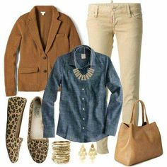 have cream cords. need better chambray shirt - not pattered like this one - hate the sweater beige mezclilla animal print flats Colored Pants Outfits, Blazer Outfits, Blazer Fashion, Fall Winter Outfits, Autumn Winter Fashion, Cream Pants, Beige Pants, Khaki Pants, Pants For Women