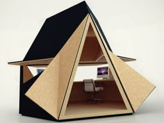 Tetra Shed - Office Module for Open Spaces | Tetra Shed is a compact office that is designed for outdoor use as an information center, ticket office, and so on. It can be installed separately and/or comprehensively. Its special shape allows you to combine several offices. The design is made of wood, plywood, copper and zinc.
