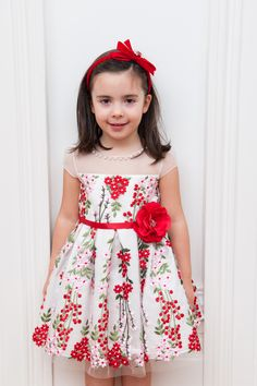IVORY RED AND PINK PICNIC DRESS
