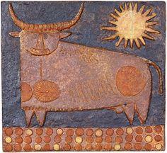 Stig Lindberg ceramic wall plaque from Incredibly wonderful blog Midcenturia