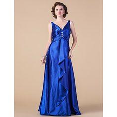 A-line V-neck Floor-length Stretch Satin Mother of the Bride Dress  – USD $ 149.99