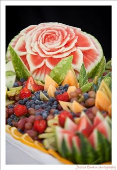 Beautiful Fruit Sculpture On the desert table of Emma and Jacksonns Wedding in Always the Baker Finally the Bride by Sandra D. Bricker Cute !http://www.amazon.com/Always-Baker-Finally-Bride-Creations/dp/1426732279/ref=sr_1_1?s=books=UTF8=1369932160=1-1=always+the+baker+finally+the+bride