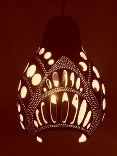 Unique, one of a kind, ambiental gourd chandelier - Spiral  The chandelier is made out of dried gourd, using various techniques. The…