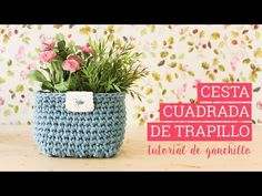 Cesta de trapillo cuadrada o rectangular | Bluü - YouTube Cotton Cord, Crochet Videos, T Shirt Yarn, Hippie Chic, Macrame, Planter Pots, Crochet Necklace, Creations, Basket