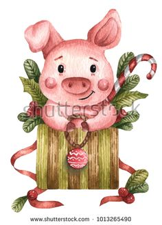 Pig Illustration, Watercolor Illustration, Frog Drawing, Crochet Pig, Pig Art, Cute Piggies, Baby Pigs, Funny Drawings, Christmas Drawing