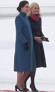 Kate Middleton lands in Oslo wearing blue Catherine Walker coat | HELLO! CA